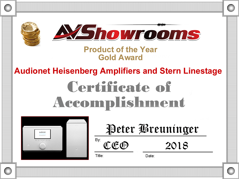 Audionet Heisenberg Stern product of the year 2018