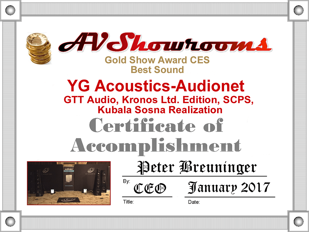 AV Showrooms Gold Show Award CES 2017