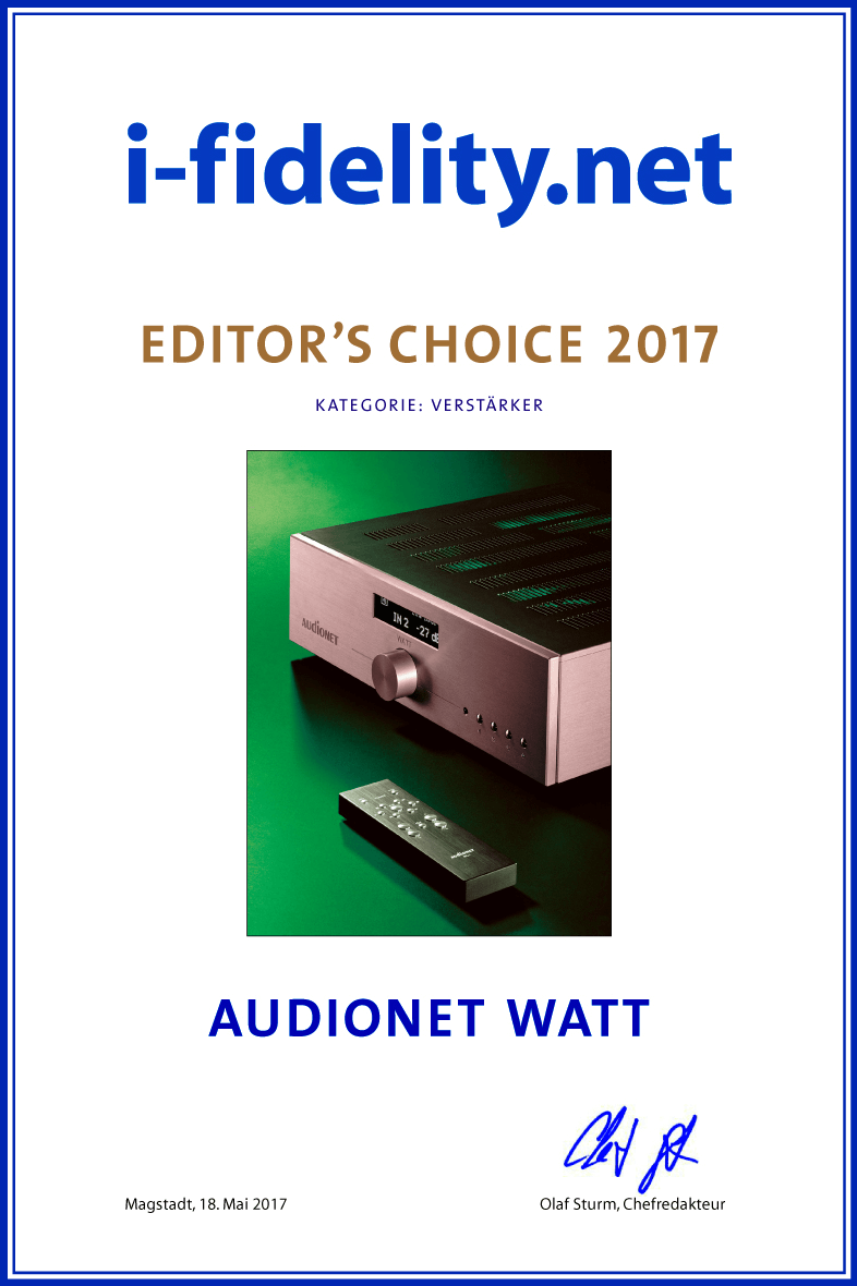Audionet WATT ifidelity editors choice 2017