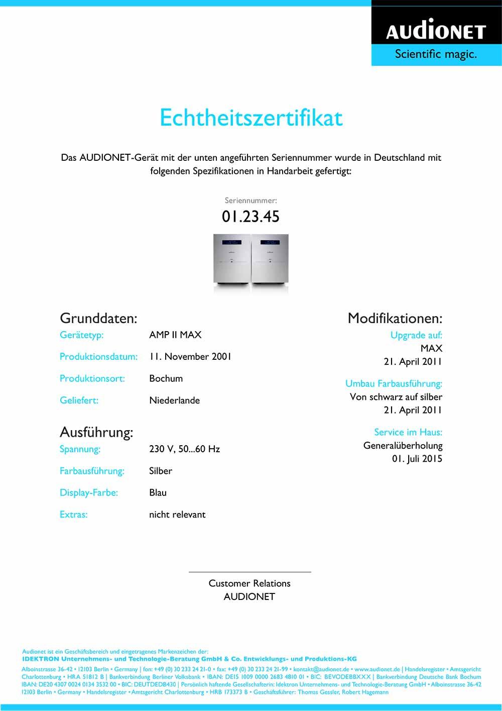 Audionet Echtheitszertifikat – AUDIONET – Scientific magic.